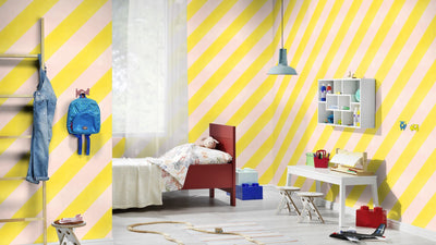 Super Cool Diagonal Wide Stripe Wallpaper | Pink & Yellow
