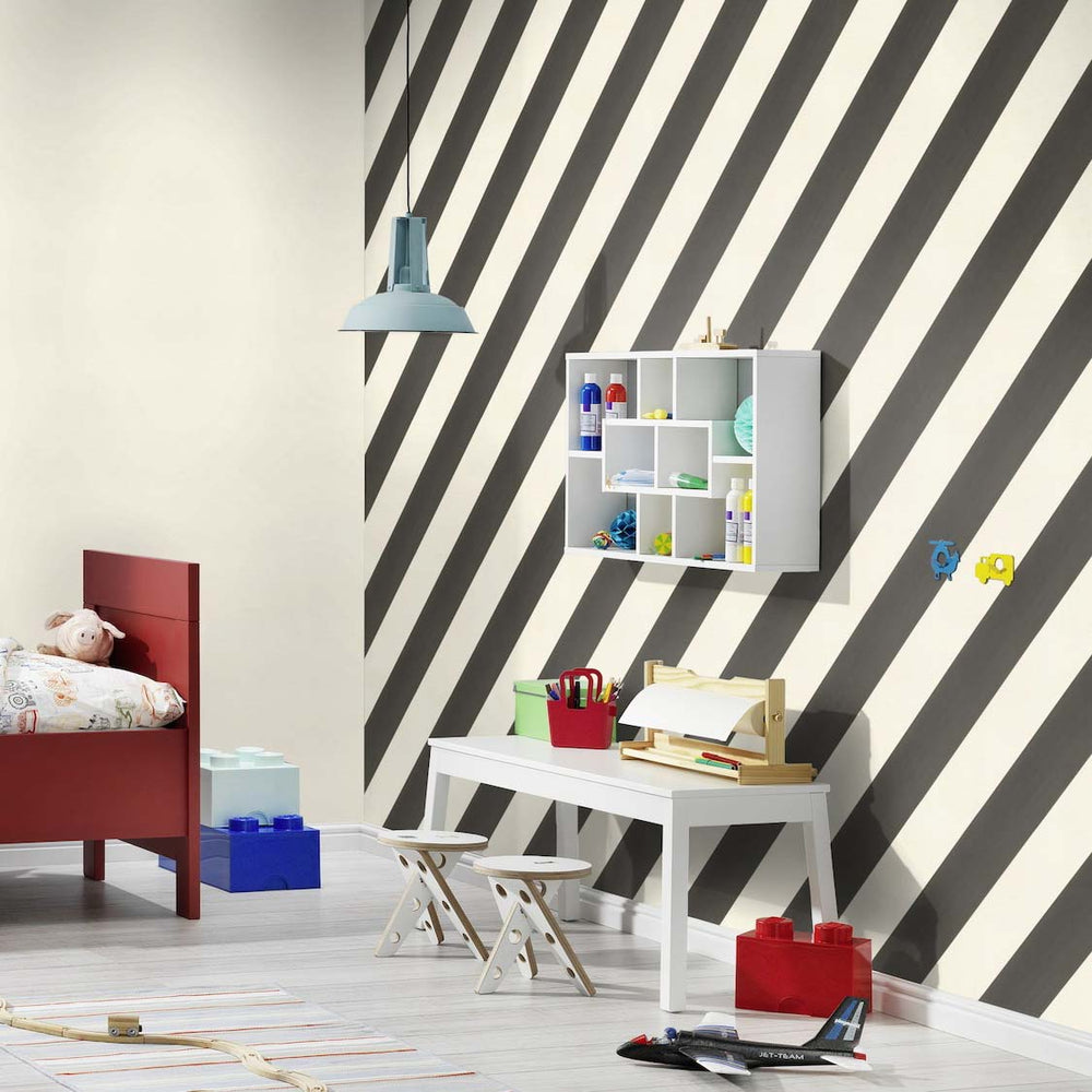 Super Cool Diagonal Wide Stripe Wallpaper | Black & White