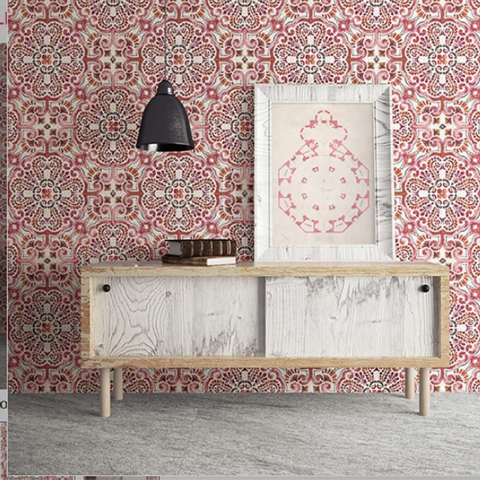 'Casablanca' Moroccan Hand Painted Tile Effect Wallpaper 'Orange, Red & Pinks'Absolutely stunning Orange, Red and Pink hand painted tile effect wallpaper.Bright and bold, this wallpaper seamlessly molds modern style with vintage beauty.A Moroccan and Florentine-inspired pattern mixes oranges and pinks.The pearlescent white background with a faux cracked effect adds to the realistic look of the wallpaper.h10m X w53cmPattern Repeat: 52cm