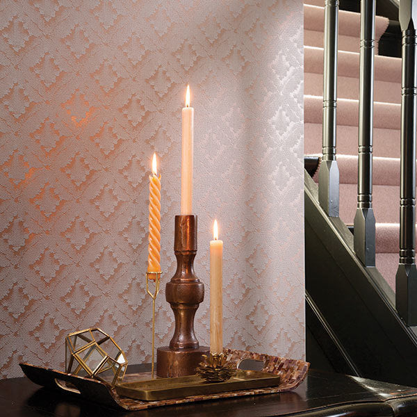 Stunning Lace Effect Geometric Grey / Brown & Rose Gold / Copper Wallpaper in Ikat DesignA contemporary modern take on the asian Ikat design trend in a stunning, contemporary, bang on trend Lace effect!This geometric wallpaper design features shimmering gloss highlights mixed with a matte fabric effect - simple yet detailed and striking at the same time. This gorgoeus mini ikat pattern would add a real impact to your home or even workspace.h10m x w52cm