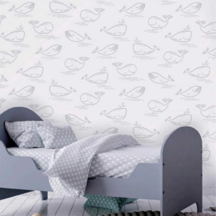 Absolutely stunning Whale wallpaper in Grey & White