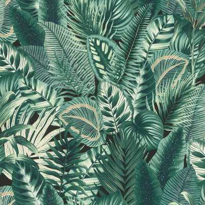 Mixed Leaf Design Wallpaper in Green, Taupe, Off White & Black - Your 4 Walls