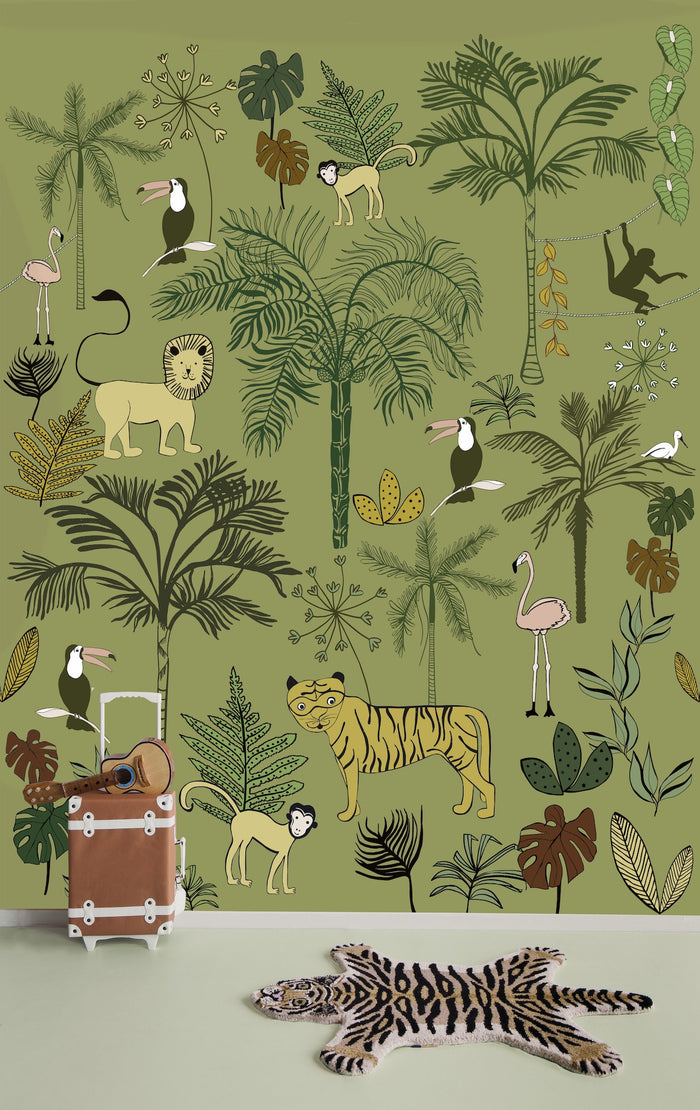 Safari Children's Wallpaper Mural in Green, Yellow, Black & White