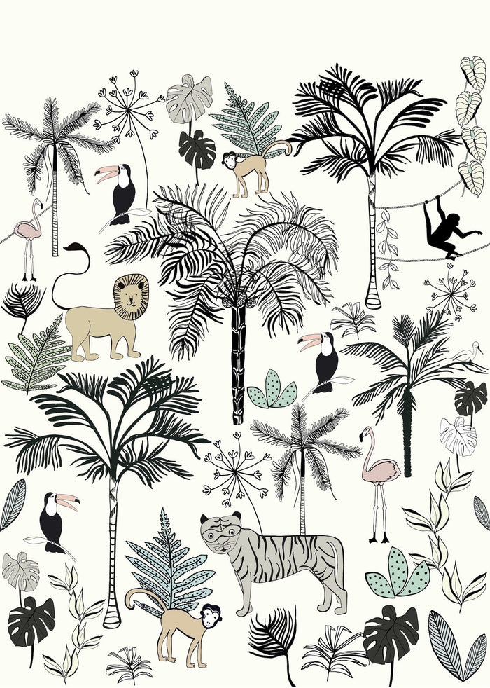 Safari Children's Wallpaper Mural in Yellow, Black & White