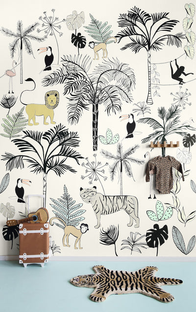 Safari Children's Wallpaper Mural in Yellow, Black & White - Your 4 Walls
