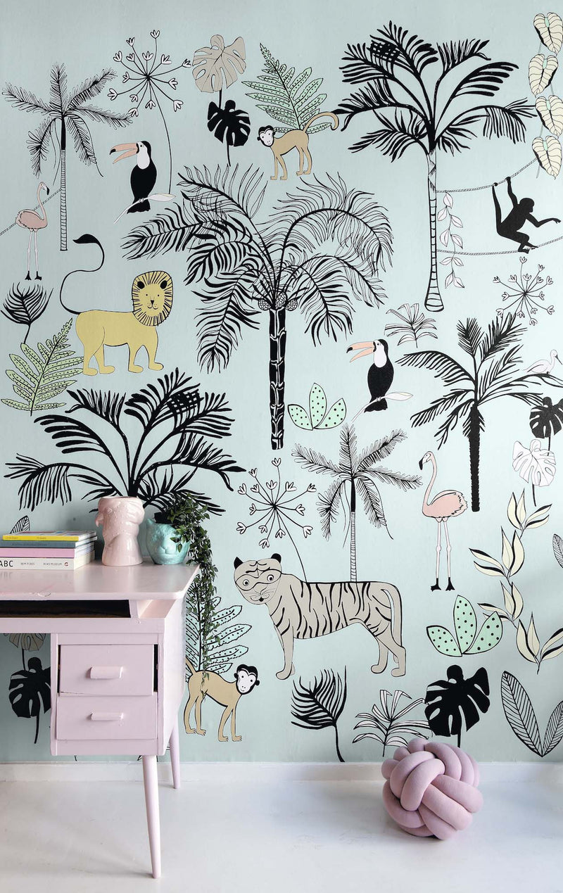 Safari Children's Wallpaper Mural in Blue/Green, Black & White - Your 4 Walls