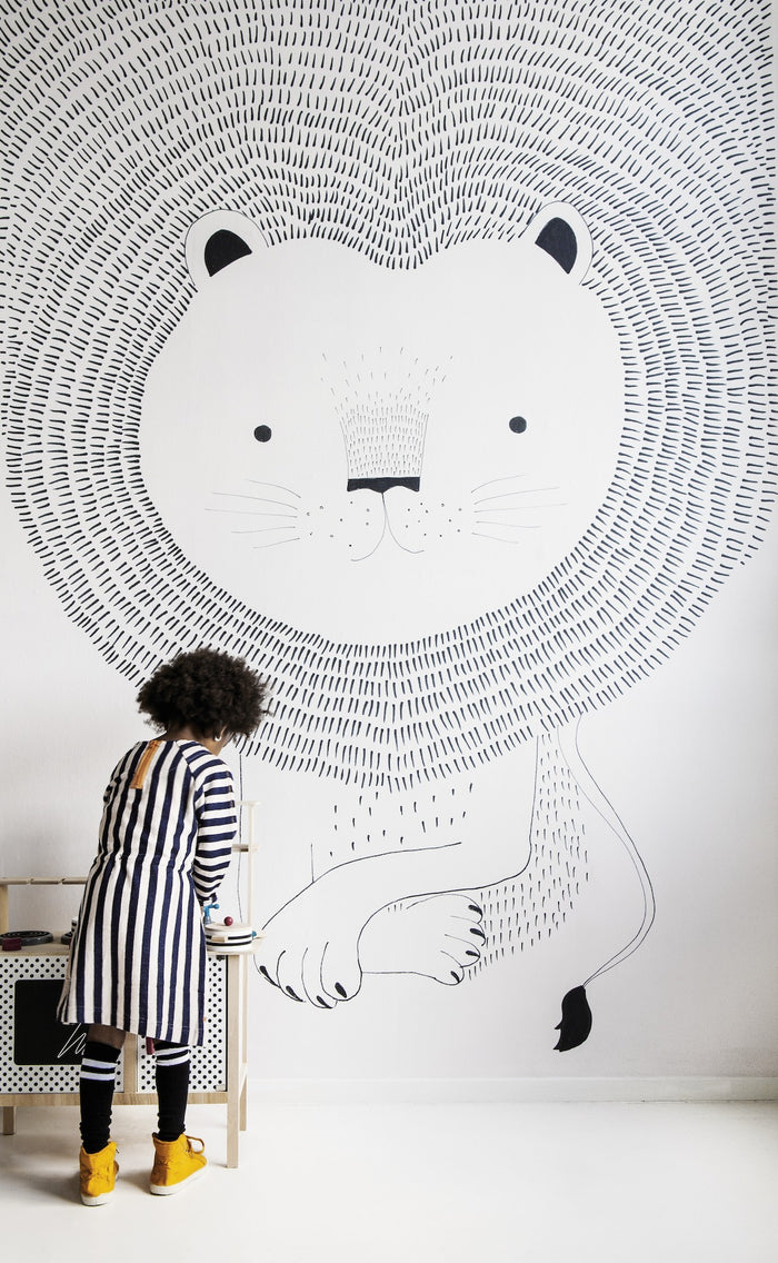 Lion Heart Children's Wallpaper Mural in Monochrome Black & White