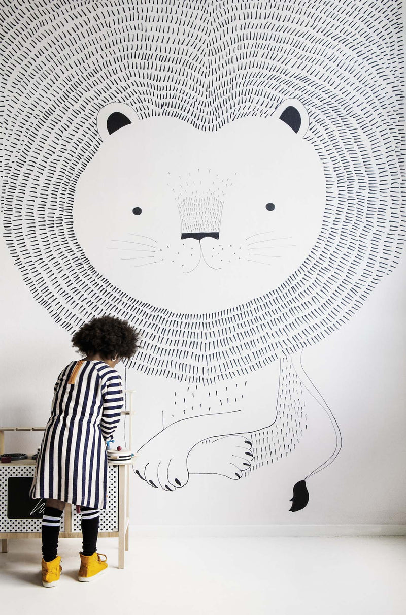 Lion Heart Children's Wallpaper Mural in Monochrome Black & White - Your 4 Walls
