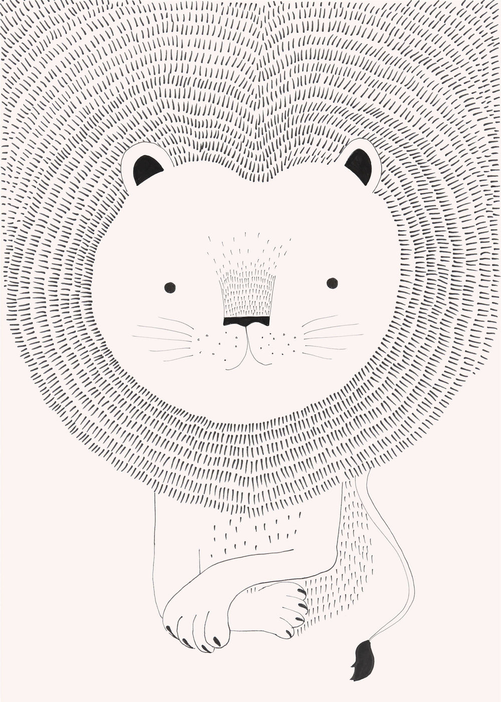 Lion Heart Children's Wallpaper Mural in Dusky Pink, White & Black - Your 4 Walls