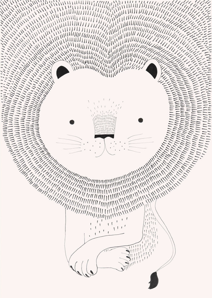 Lion Heart Children's Wallpaper Mural in Dusky Pink, White & Black