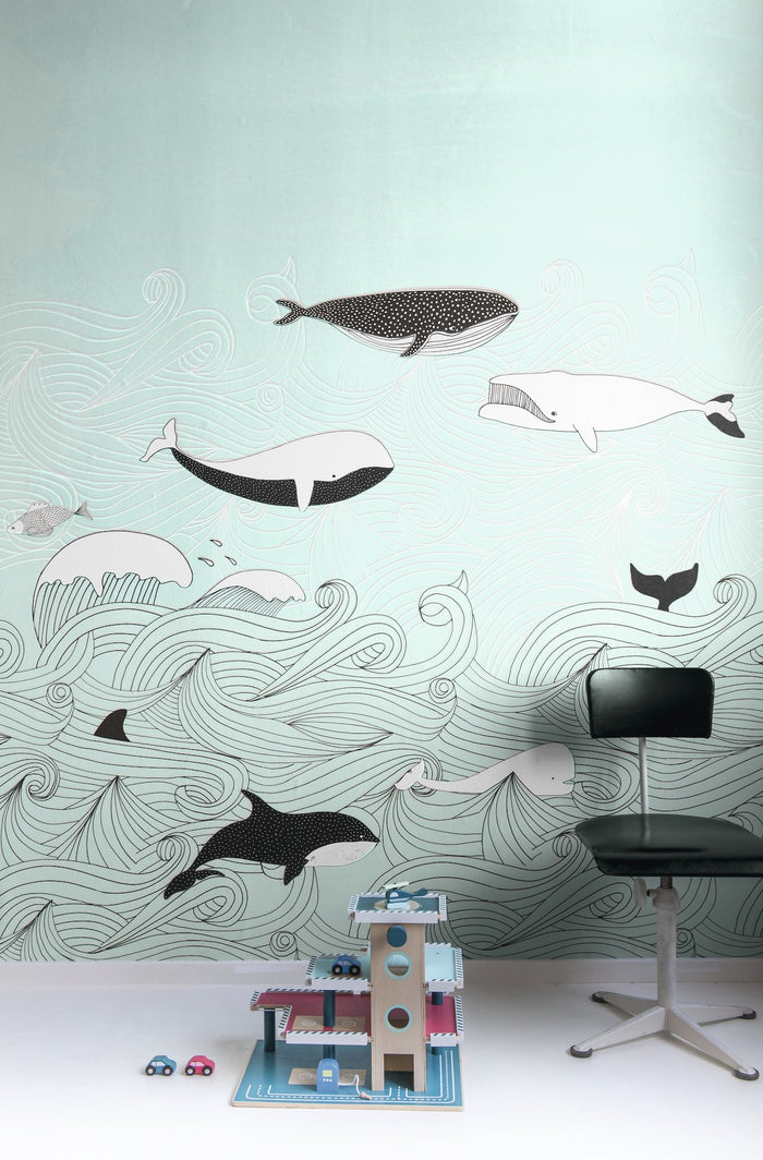 Whale Old Time Children's Wallpaper Mural in Blue/Green, Black & White