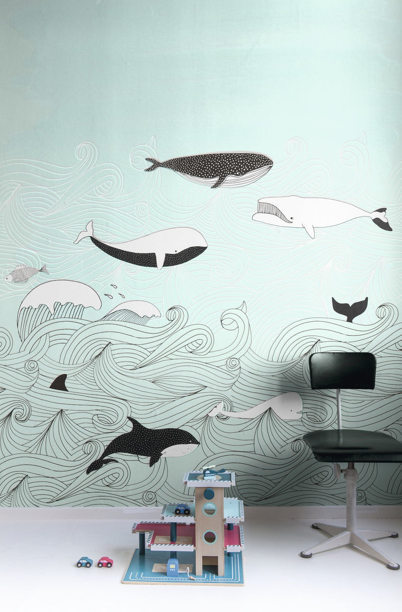 Whale Old Time Children's Wallpaper Mural in Blue/Green, Black & White - Your 4 Walls
