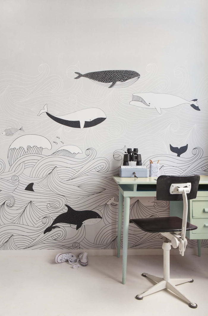 Whale Old Time Children's Wallpaper Mural in Grey, Black & White