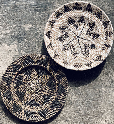 Lombok Boho Wall Decoration Plate / Bowl in Natural and Black - Your 4 Walls