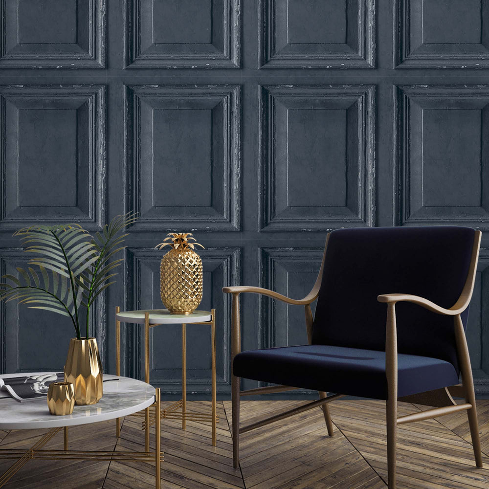 Wood Panelling Effect Wallpaper in Deep Blue - Your 4 Walls