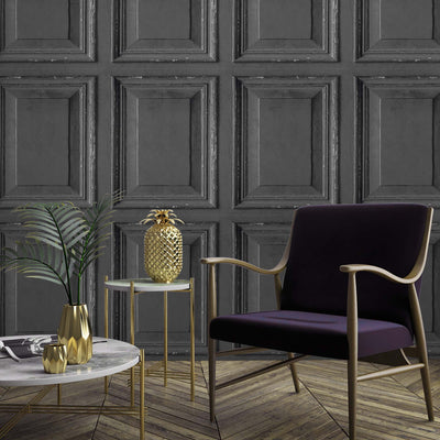 Wood Panelling Effect Wallpaper in Charcoal/Black - Your 4 Walls