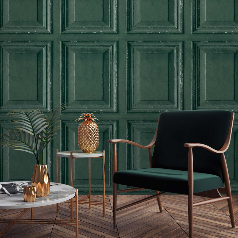 Wood Panelling Effect Wallpaper in Dark Green - Your 4 Walls