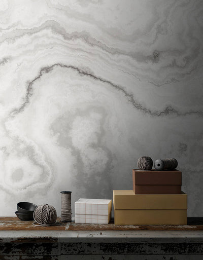 Agate Wallpaper Mural Version 2 in Grey, Charcoal & White - Your 4 Walls