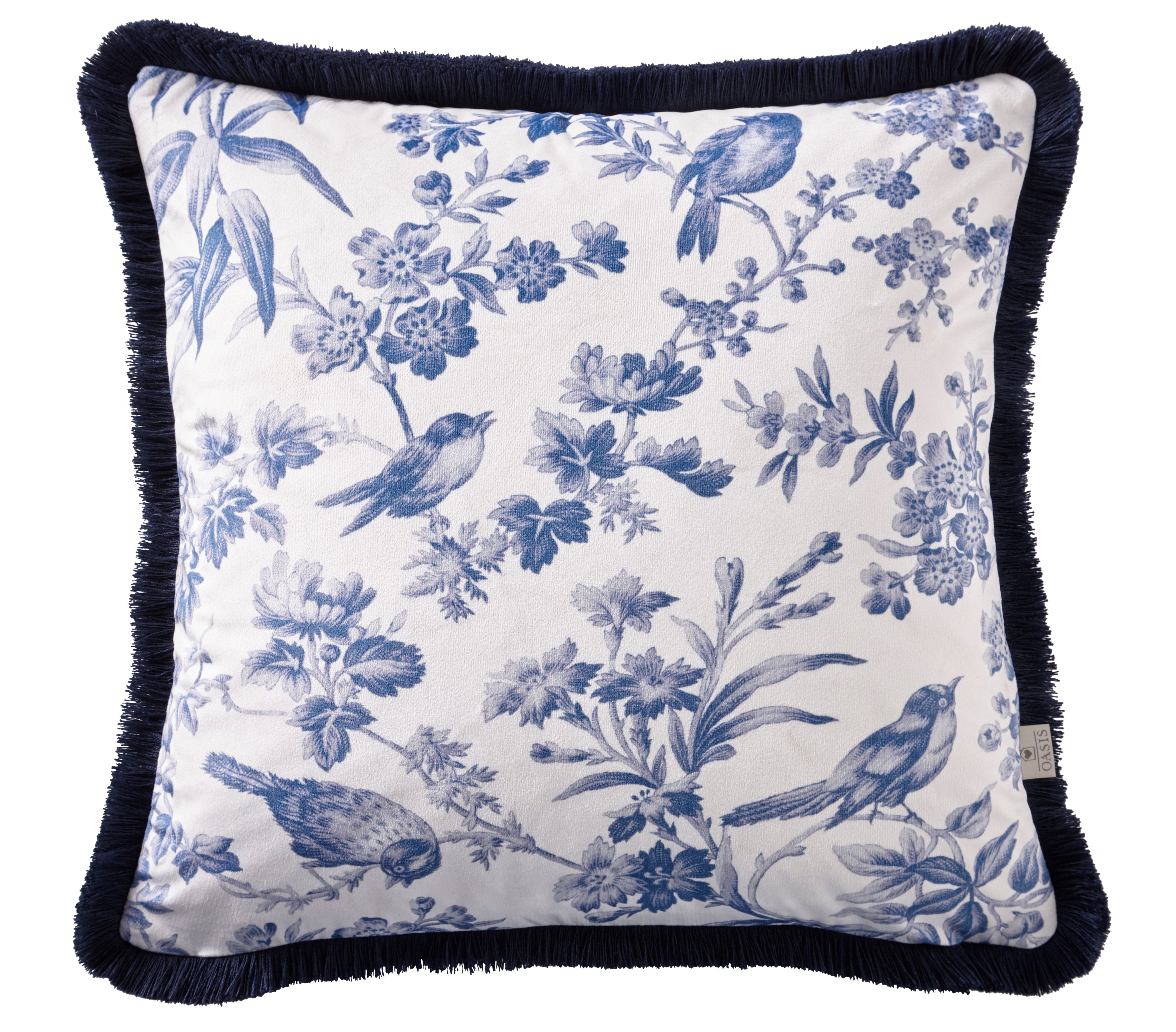 Oasis Designer 'Amelia' Floral Cushion | Blue & White - Your 4 Walls