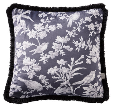 Oasis Designer 'Amelia' Floral & Birds Cushion | Charcoal & White - Your 4 Walls