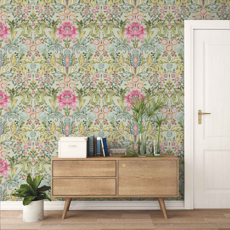'Mayfair' Floral Damask Wallpaper | Pink & Green - Your 4 Walls