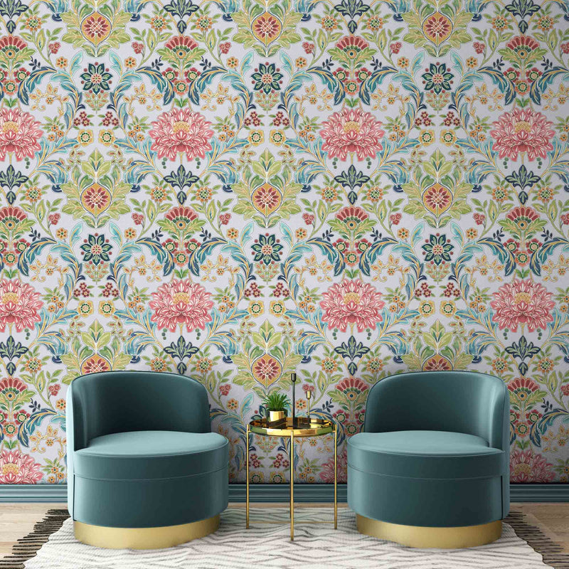 'Knightsbridge' Floral Damask Wallpaper | Blue & Pink - Your 4 Walls