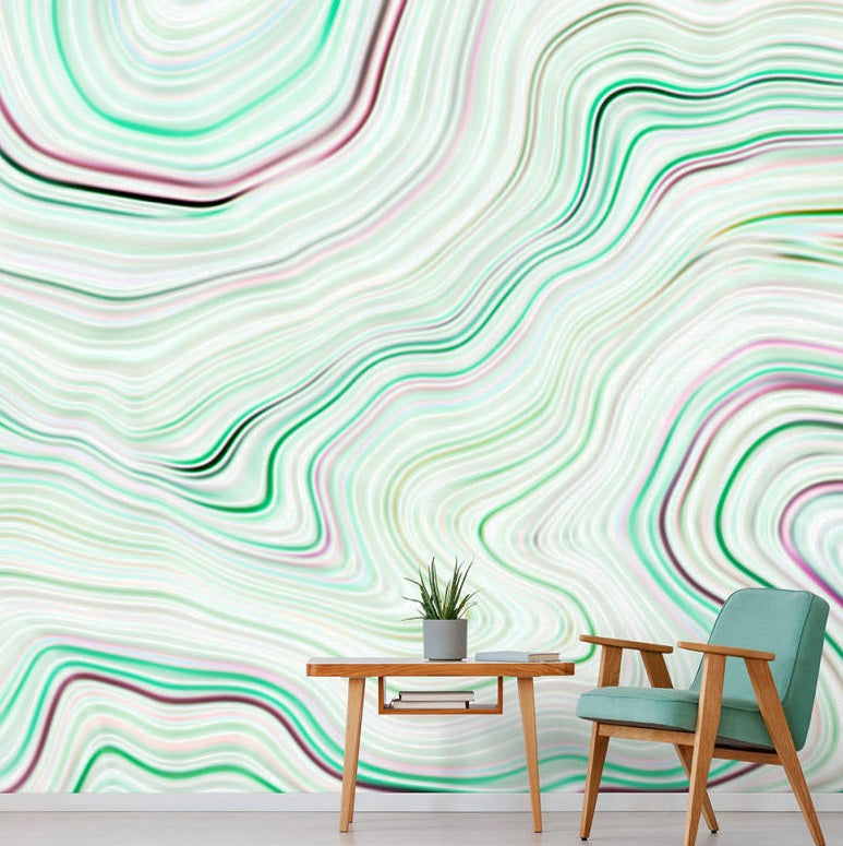 Agate Wallpaper Mural in Cream, Green & Pink - Your 4 Walls