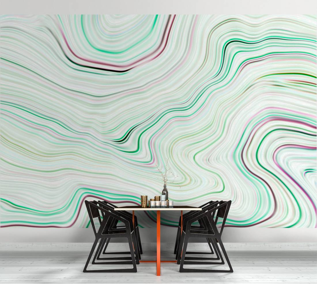 Agate Canyon Wallpaper Mural in Cream, Green & Pink