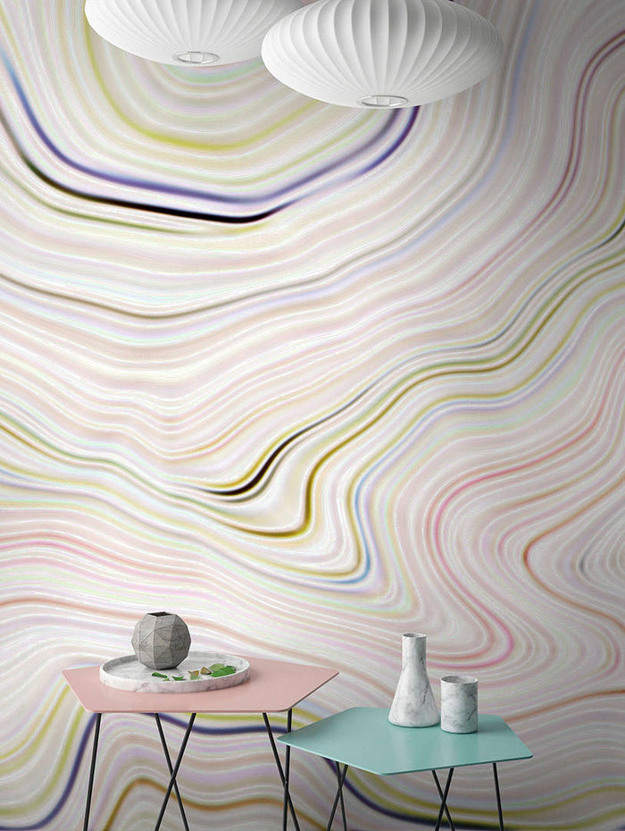 Agate Canyon Wallpaper Mural in Beige, Cream, Pink, Purple, White, Yellow - Your 4 Walls