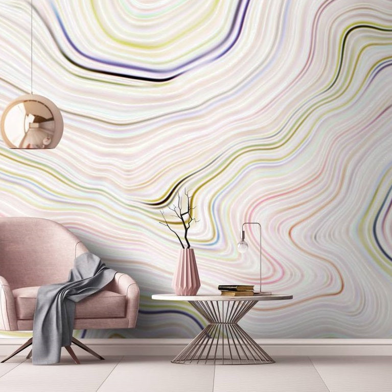 Agate Canyon Wallpaper Mural in Beige, Cream, Pink, Purple, White, Yellow