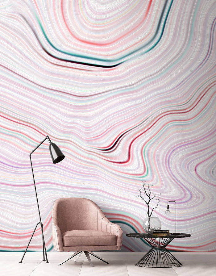 Agate Canyon Wallpaper Mural in Cream, Pink, Red, White - Your 4 Walls
