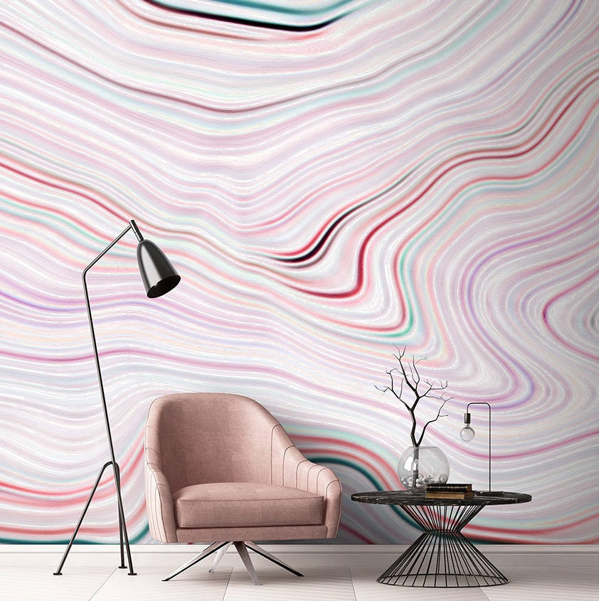 Agate Canyon Wallpaper Mural in Cream, Pink, Red, White