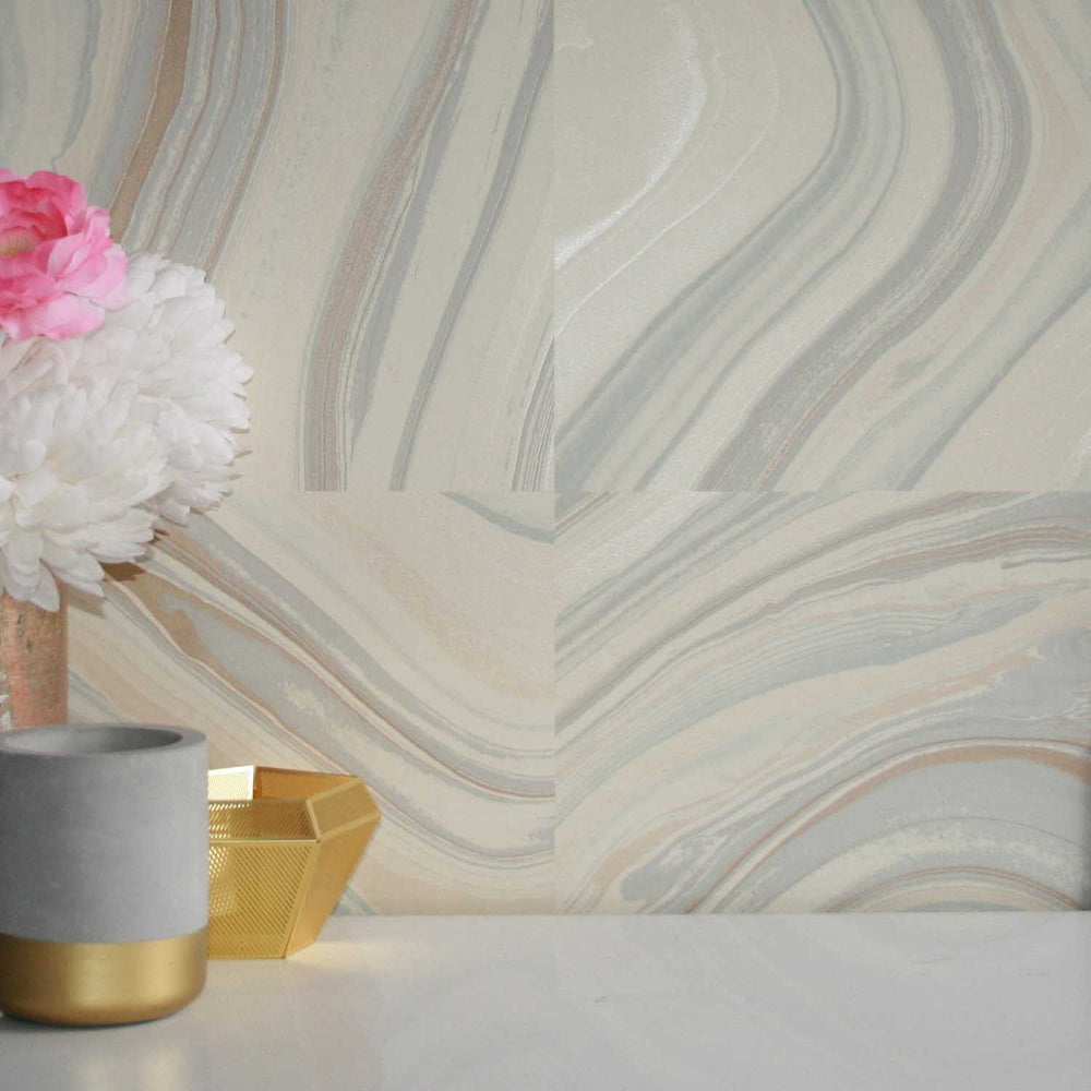 Agate Quartz / Marble Effect Wallpaper | Sand, Blue, Grey, Gold and Pearl - Your 4 Walls