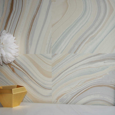 Agate Tile Effect Wallpaper in Sand, Blue & Grey - Your 4 Walls
