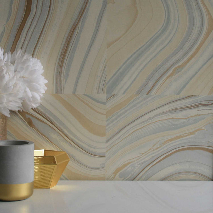 Agate Quartz / Marble Effect Wallpaper | Sand, Blue, Grey, Gold and Pearl