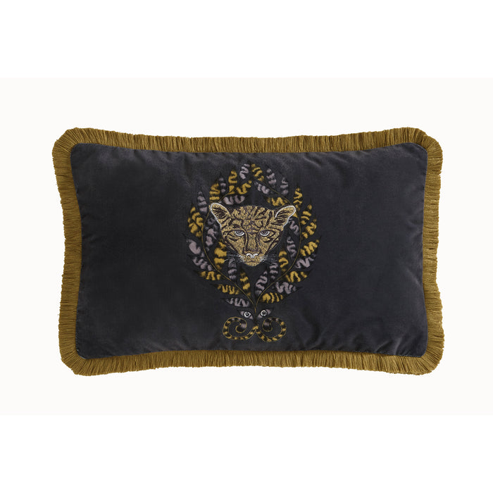 Emma Shipley Designer 'Amazon' Jaguar Animal Cushion | Dark Grey & Gold/Ochre
