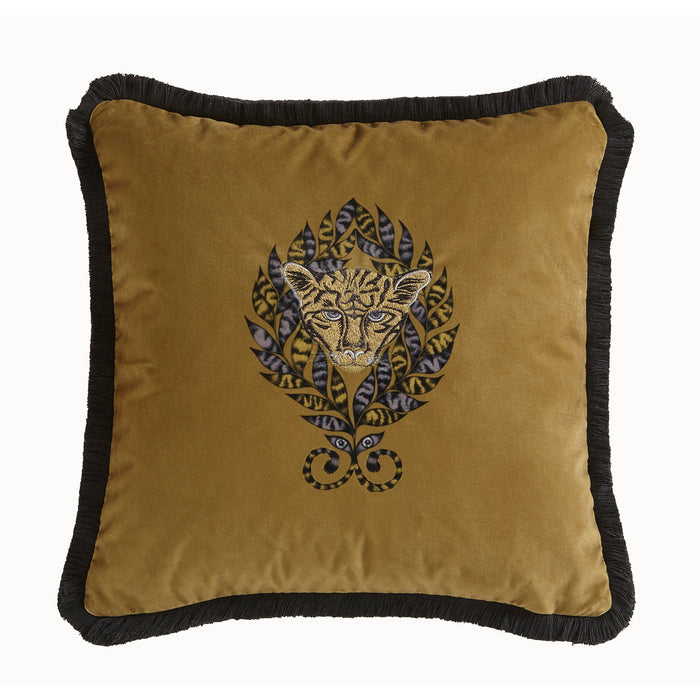 Emma Shipley Designer 'Amazon' Animal Jaguar Cushion | Gold/Ochre & Dark Grey
