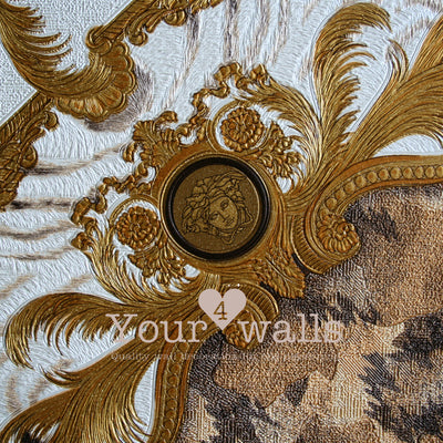 Versace Animal Plaid | Designer Animal Skin Effect Wallpaper in Gold, Orange & White - Your 4 Walls