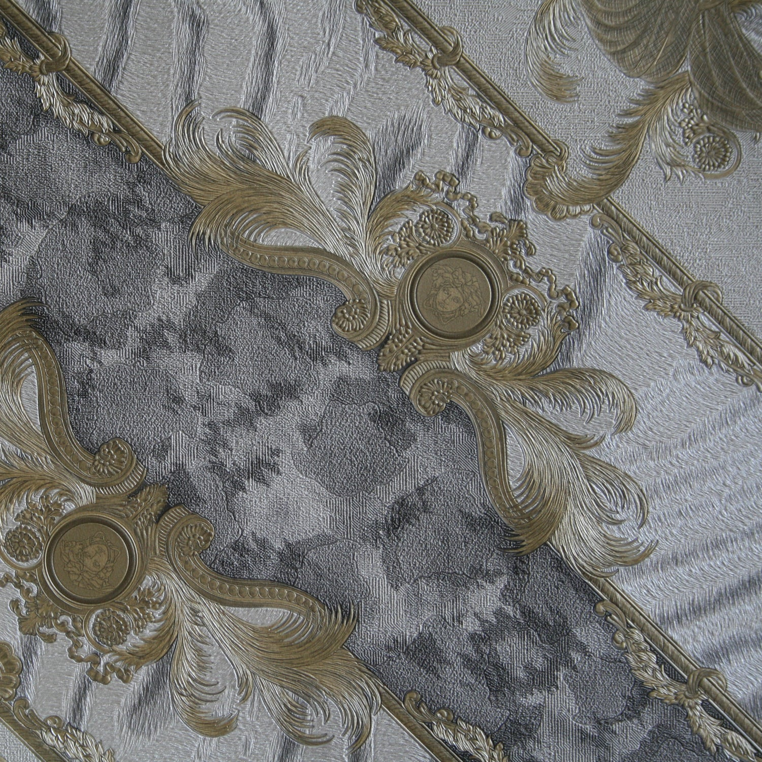 Versace Animal Plaid | Designer Animal Skin Effect Wallpaper in Grey, Gold & Off White