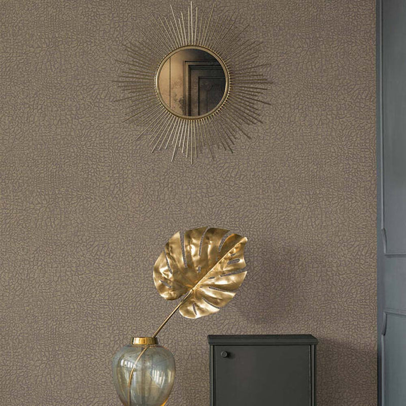 Animal Skin Effect Wallpaper in Taupe & Gold Shimmer - Your 4 Walls