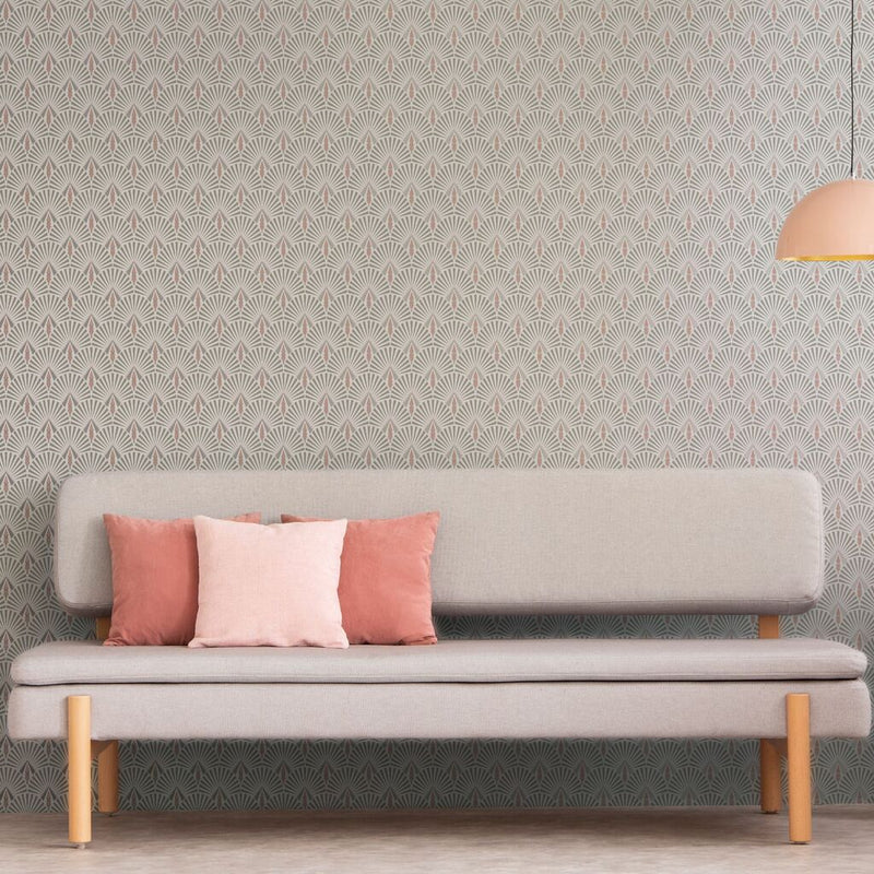 Art Deco Sunbeam Tile Effect Geometric Wallpaper in Pink, Silver & White - Your 4 Walls