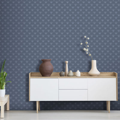 Art Deco Fan Tile Effect Geometric Wallpaper in Blue - Your 4 Walls
