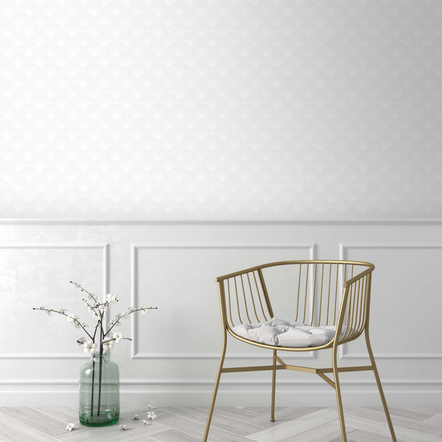 Art Deco Fan Tile Effect Geometric Wallpaper | Off White and Silver / White