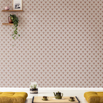 Art Deco Fan Tile Effect Geometric Wallpaper in Cream Grey and Rose Gold - Your 4 Walls