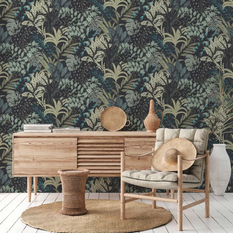 'Wild' Floral Leaves Wallpaper in Charcoal and Green - Your 4 Walls