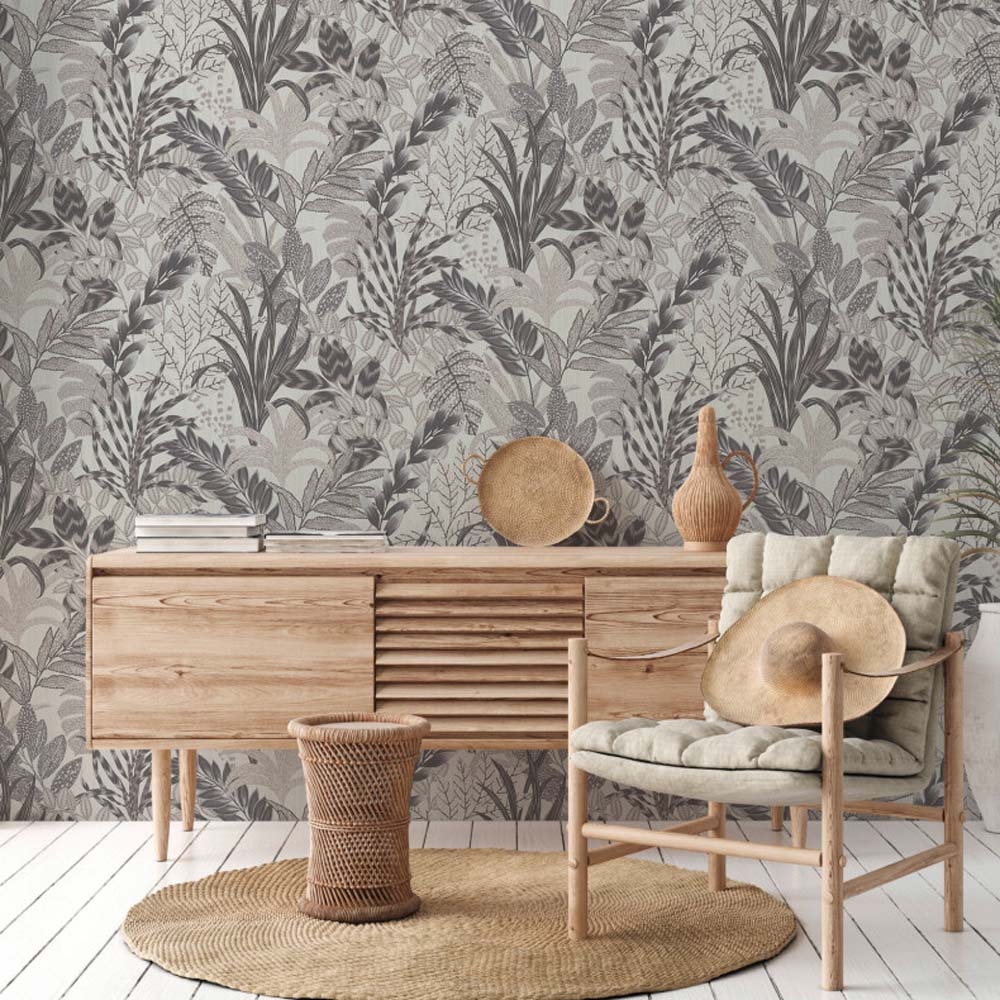 'Wild' Floral Leaves Wallpaper in Grey and Taupe - Your 4 Walls