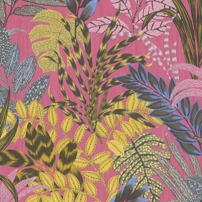 'Wild' Floral Leaves Wallpaper in Pink and Yellow - Your 4 Walls