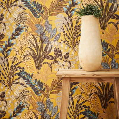 'Wild' Floral Leaves Wallpaper in Ochre and Chocolate Brown - Your 4 Walls