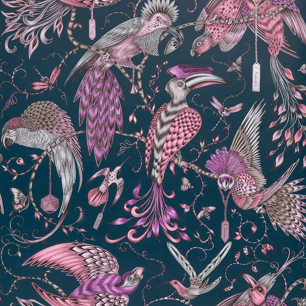 Audubon bird design wallpaper by Designer Emma J Shipley Animalia | Pink & Blue - Your 4 Walls
