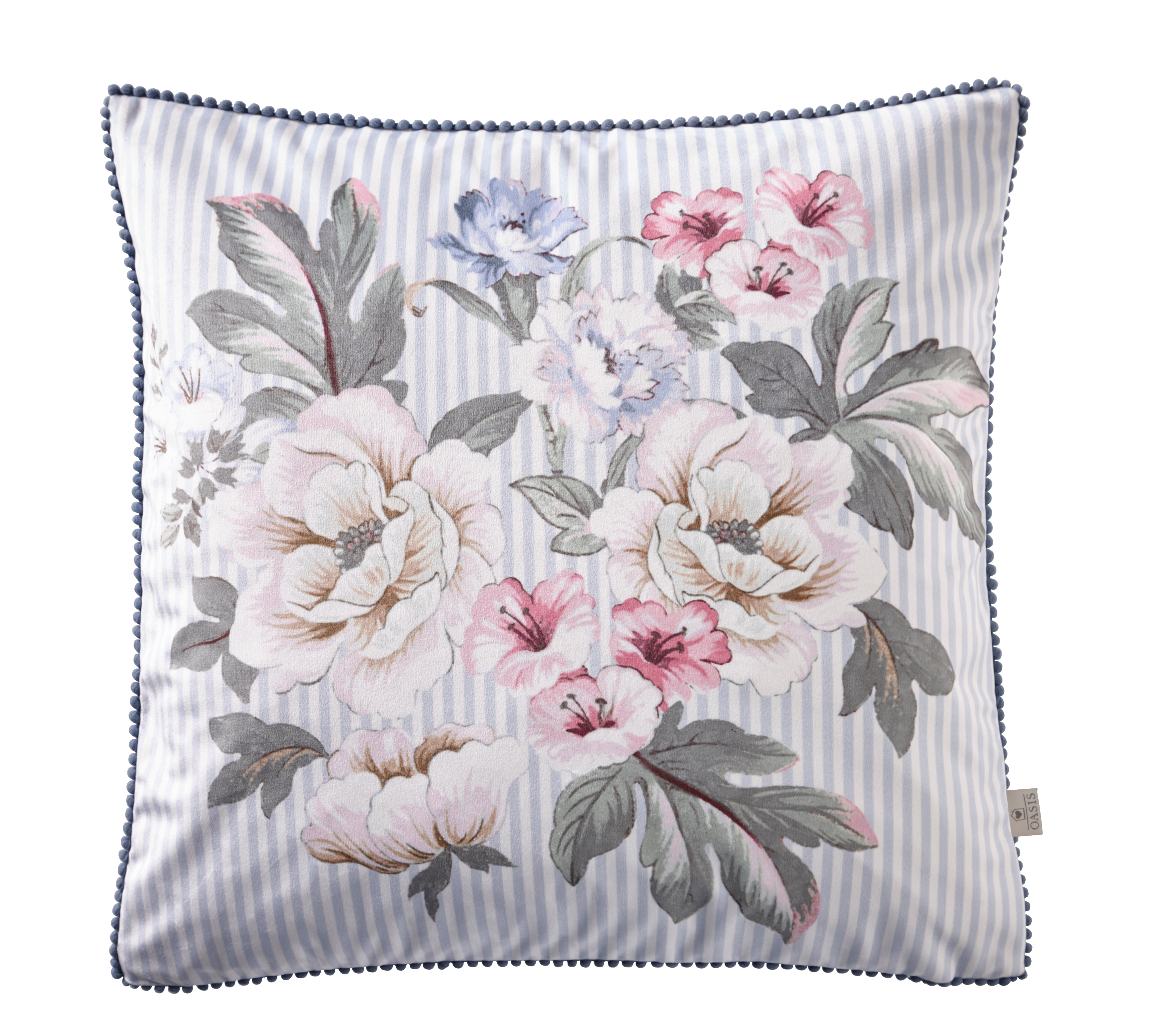 Oasis Designer 'Bailey' Floral Cushion | Baby Blue & White Stripe